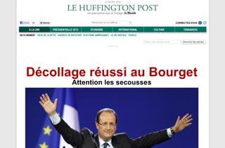 Première Une de la version française du Huffingtonpost pour son lancement