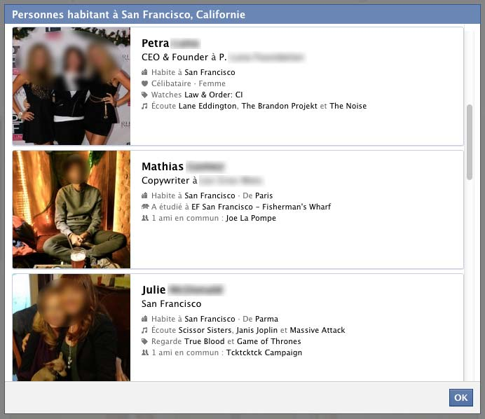Exemple de résultat Graph Search Facebook